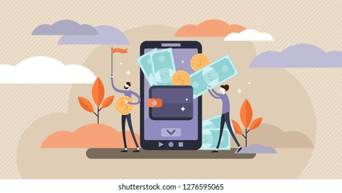 Mobile wallet vector illustration. Flat tiny persons concept with money transfer from cash to smartphone application. Pay using wireless technology transaction. Modern customer finance deposit account