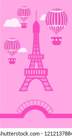 Mobile wallpaper of romantic mono colored Paris attractions such as Eiffel Tower, aerostats, bridge and clouds. Flat vector illustration.
