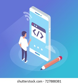 Mobile  web development concept . Flat isometric style illustration.