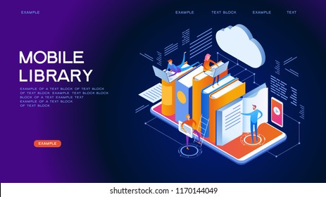 Mobile Web library. Technology and literature. Digital ibrary web banner. People interact with digital books. Isometric images. 3d vector illustration.