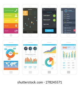 Mobile wire frames UI kit collection set. Menu mobile screen, graphic analysis mobile screen, training plan mobile screen, sidebar menu mobile screen, world analytic information screen, pie chart.
