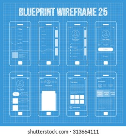 Mobile wireframe app ui kit 25. Swipe screen, sidebar menu screen, user pfocile info screen, followers screen, user content screen, user;s post screen, user's gallery information screen.