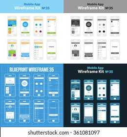 Mobile Wireframe App Ui Kit 35. Feed screen, shop screen, men's clothes screen, receipt screen, profile screen, drafts screen, invitation screen, splash screen.