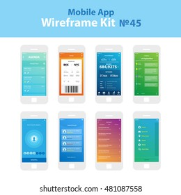 Mobile wireframe App UI Kit 45. Agenda planner screen, boarding pass screen, account manager screen, schedule screen, searching for players screen, search result screen, user search screen, sidebar