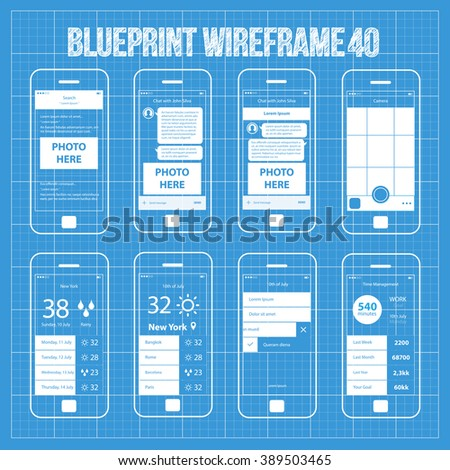 Mobile wireframe app ui kit 40 stock vector royalty free 389503465 mobile wireframe app ui kit 40 search results screen chat with friend screen malvernweather Choice Image