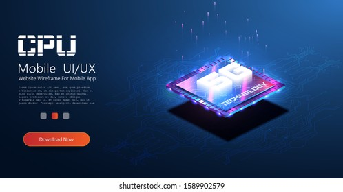 Mobile wireless Internet is a new generation. Isometric futuristic microchip with 5g hologram. Microchip processor with lights effects. cybernetic system, futuristic computing technology. Vector CPU