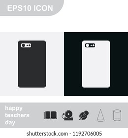 Mobilephone back side with camera and flash flat black and white vector icon.