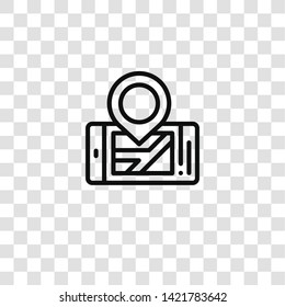 mobilephone icon from navigation maps collection for mobile concept and web apps icon. Transparent outline, thin line mobilephone icon for website design and mobile, app development