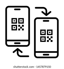 Mobiles connecting with QR code. Stroke outline style. Vector. Isolate on white background.