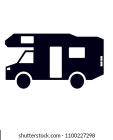 Mobilhome vector illustration in black on a white canvas usable as a logo. Mobil home simplistic symbol.