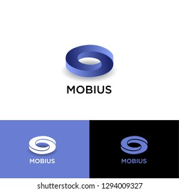 Mobius logo. Impossible geometric shape with shadow on a different backgrounds. UI, Web icon. Monochrome option.