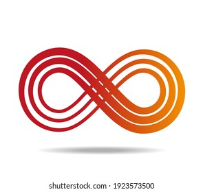 Mobius loop made of three red lines of heterogeneous thickness. Infinity symbol