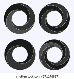 Mobius strip. Circular shape with inverted side. Closed dimensional loop.  Logo symbolizes infinite, repetition, recurrence. Abstract vector illustration. Set of four circular shapes.