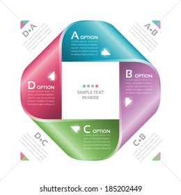 Mobius strip of paper. Vector option infographic. EPS 10. RGB. All effects are created with simple gradients and transparency, no mesh.  File is layered with global colors.