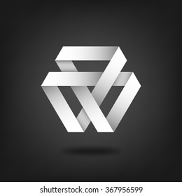 Mobius strip symbol on black background - vector illustration. eps 10