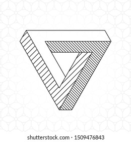 Mobius Triangle Loop Technical Draw Style Impossible Geometric Figure Inspired by Escher - Black Isometric Object on Repeating Cube Pattern Wallpaper Background - Vector Outline Graphic Design