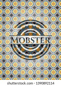 Mobster arabic badge. Arabesque decoration.