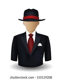 Mobster avatar on white background