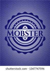 Mobster badge with denim background