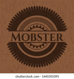 Mobster badge with wooden background