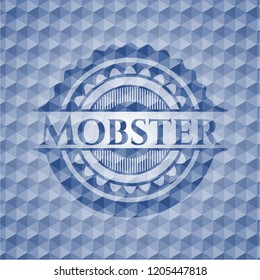 Mobster blue emblem or badge with geometric pattern background.