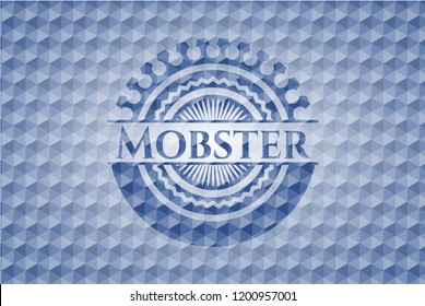 Mobster blue emblem with geometric pattern background.