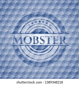 Mobster blue hexagon emblem. Vector Illustration. Detailed.