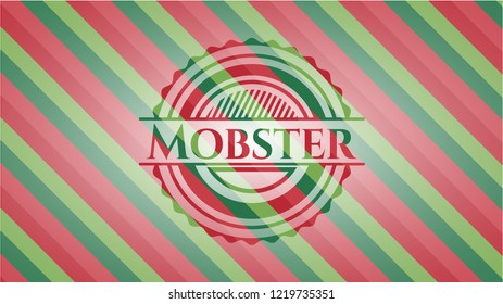 Mobster christmas colors style badge.