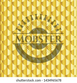 Mobster gold badge or emblem. Scales pattern. Vector Illustration. Detailed.