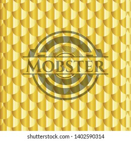 Mobster golden emblem. Scales pattern. Vector Illustration. Detailed.