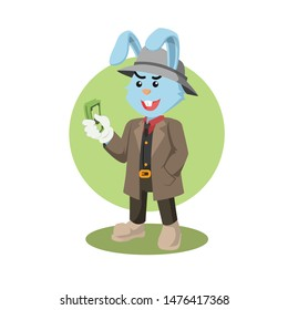 mobster holding money vector illustration