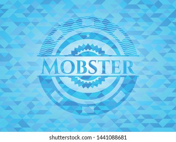 Mobster light blue mosaic emblem