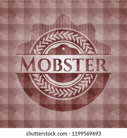 Mobster red seamless emblem or badge with abstract geometric polygonal pattern background.