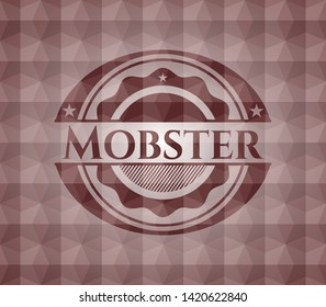 Mobster red seamless emblem with geometric pattern.