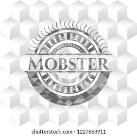 Mobster retro style grey emblem with geometric cube white background