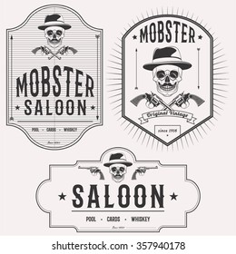 Mobster saloon isolated logo set emblems, badges and design elements on white background