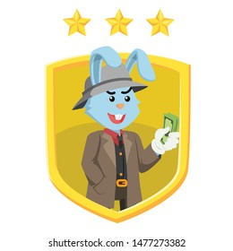 mobster with a shield emblem vector illustration