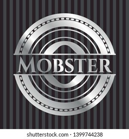 Mobster silvery shiny emblem. Vector Illustration. Mosaic.