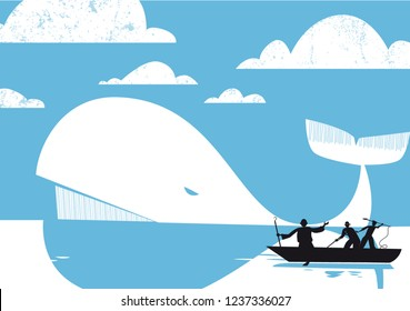 Moby Dick, The White Whale, vector illustration