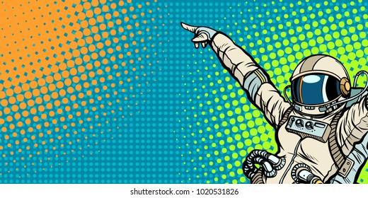 mocap female astronaut shows up on copy space. Pop art retro comic book vector cartoon hand drawn illustration