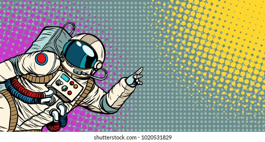 mocap male astronaut shows hand on copy space. Pop art retro comic book vector cartoon hand drawn illustration