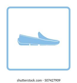 Moccasin icon. Blue frame design. Vector illustration.