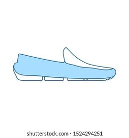 Moccasin Icon. Thin Line With Blue Fill Design. Vector Illustration.