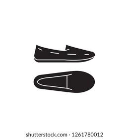 Moccasins black vector concept icon. Moccasins flat illustration, sign