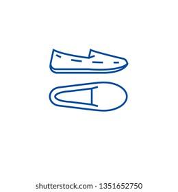 Moccasins line icon concept. Moccasins flat  vector symbol, sign, outline illustration.