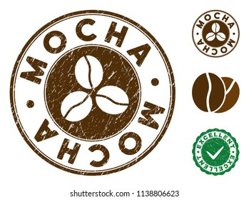 Mocha brown stamp. Vector seal print imitation with grunge surface and coffee color. Round vector rubber seal stamp with grunge design of Mocha caption. Bonus excellent mark.