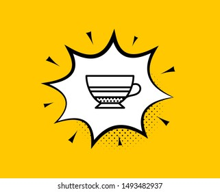 Mocha coffee icon. Comic speech bubble. Hot drink sign. Beverage symbol. Yellow background with chat bubble. Mocha icon. Colorful banner. Vector