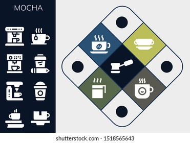 mocha icon set. 13 filled mocha icons.  Simple modern icons about  - Coffee, Cup, Coffee machine, Frappe