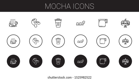 mocha icons set. Collection of mocha with coffee, beans, cup, coffee cup. Editable and scalable mocha icons.