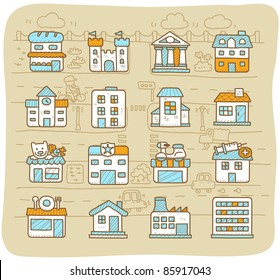 Mocha Series | european houses, buildings,store ,travel icons,